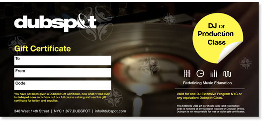 Dubspot Gift Certificate
